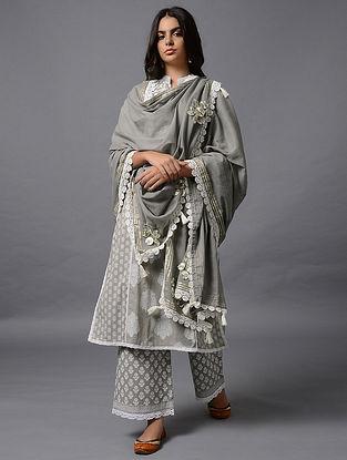 Grey Cotton Dupatta with Gota Work