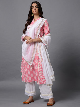 White Cotton Dupatta with Gota Work