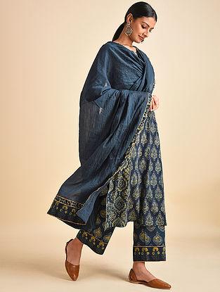 Blue Cotton Mul Dupatta with Ajrakh and Gota Details