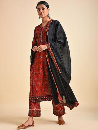 Black Cotton Mul Dupatta with Ajrakh and Gota Details
