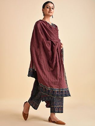 Rust Cotton Mul Dupatta with Ajrakh and Gota Details