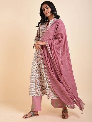 Powder Pink Cotton Mul Dupatta with Gota Details