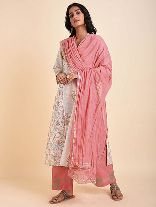 Peach Cotton Mul Dupatta with Gota Details