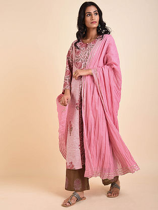 Pink Cotton Mul Dupatta with Gota Details