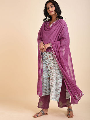 Purple Cotton Mul Dupatta with Gota Details