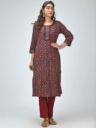 Black-Red Ajrakh Printed Cotton Kurta
