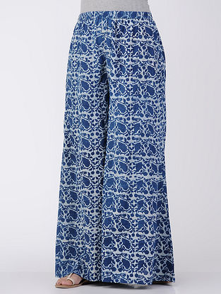 Indigo Elasticated Waist Dabu-Printed Cotton Palazzos