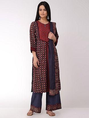 Maroon Ajrakh-printed Cotton Kurta