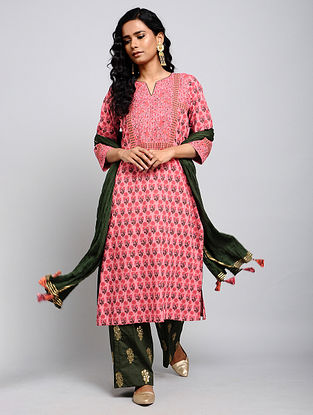 Pink Kantha-embroidered Cotton Kurta