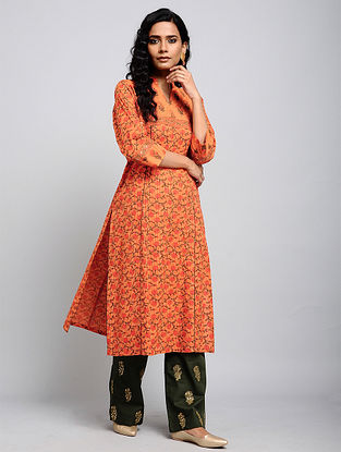 Orange Kantha-embroidered Cotton Kurta