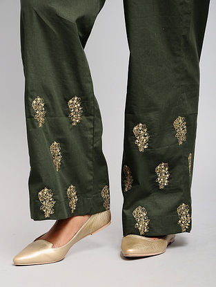 Green Cotton Palazzos with Sequins Work