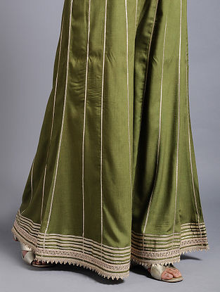 Green Rayon Palazzos with Gota Work