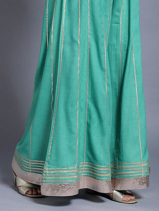 Turquoise Rayon Palazzos with Gota Work