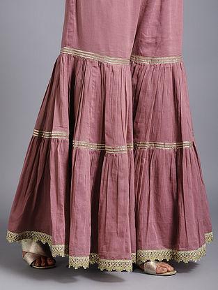 Powder Pink Cotton-Mul Palazzos with Gota Work
