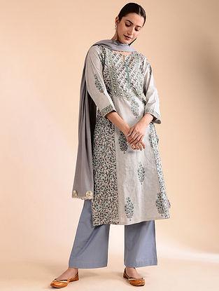 Grey Block-Printed Cotton Kurta