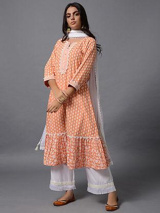 Peach Khari Print Cotton Kurta
