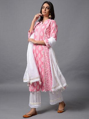 Pink Khari Print Cotton Kurta