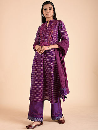 Purple Cotton Ikat Kurta