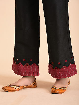 Black Cotton Silk Palazzos