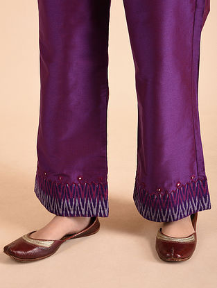 Purple Cotton Silk Palazzos