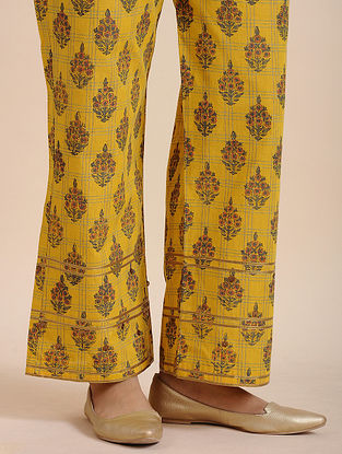 Yellow Cotton Handloom Pants with Sequins