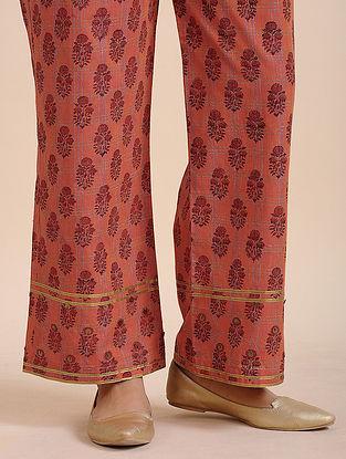 Orange Cotton Handloom Pants with Sequins