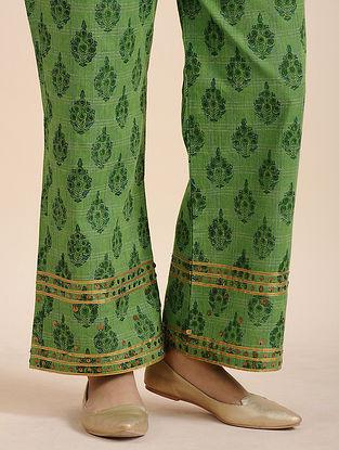 Green Cotton Handloom Pants with Sequins