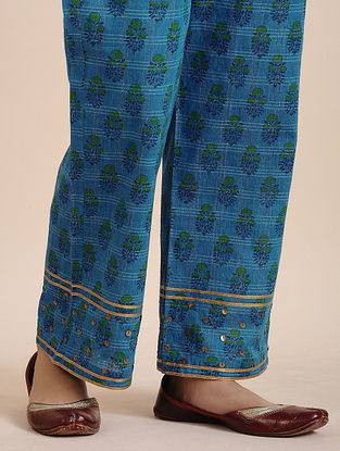 Blue Cotton Handloom Pants with Sequins