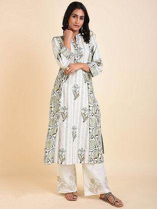 Grey Green Mughal Printed Handloom Cotton Kurta