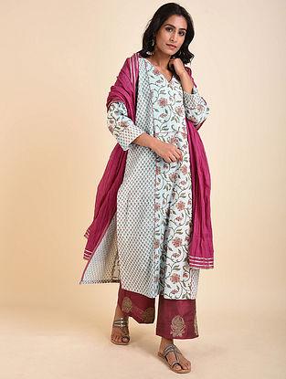 Blue Peach Mughal Printed Handloom Cotton Kurta