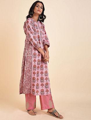 Pink Mughal Printed Handloom Cotton Kurta