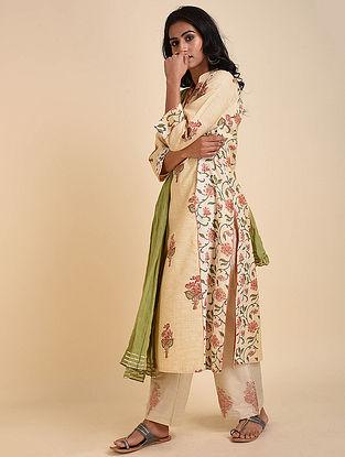Beige Green Mughal Printed Handloom Cotton Kurta