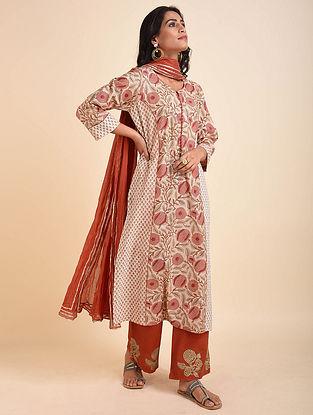 Peach Green Mughal Printed Handloom Cotton Kurta