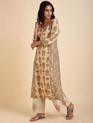 Yellow Pink Mughal Printed Handloom Cotton Kurta