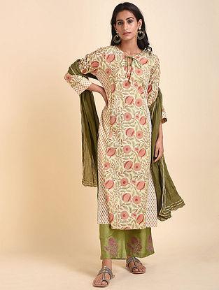 Green Beige Mughal Printed Handloom Cotton Kurta