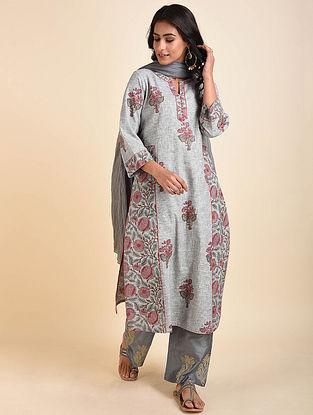 Grey Mughal Printed Handloom Cotton Kurta