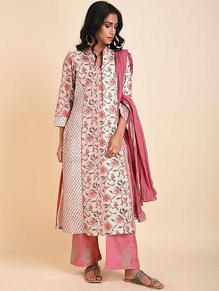 Pink Green Mughal Printed Handloom Cotton Kurta