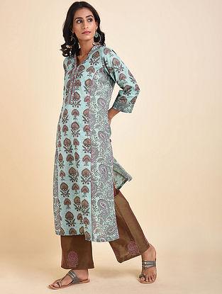 Turquoise Mughal Printed Handloom Cotton Kurta