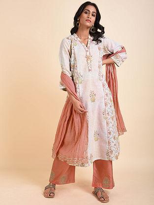 Pink Cream Mughal Printed Handloom Cotton Kurta