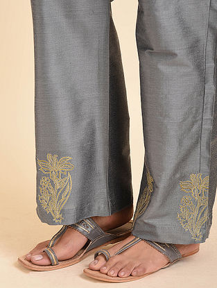 Grey Embroidered Cotton Silk Palazzos