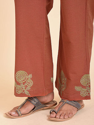 Rust Embroidered Cotton Silk Palazzos