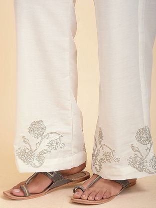 Ivory Embroidered Cotton Silk Palazzos