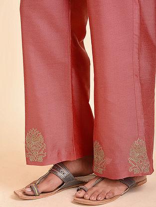 Peach Embroidered Cotton Silk Palazzos