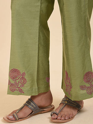 Light Green Embroidered Cotton Silk Palazzos