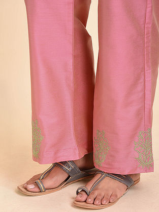 Pink Embroidered Cotton Silk Palazzos