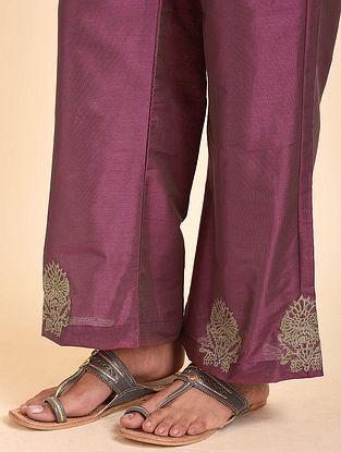 Purple Embroidered Cotton Silk Palazzos