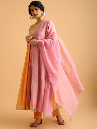 Pink Cotton Chanderi Dupatta with Embroidery