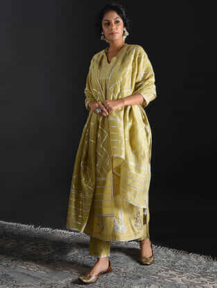 Olive Gota-embroidered Chanderi Dupatta