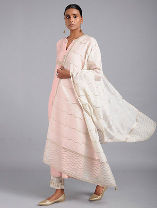 Ivory Cotton Chanderi Dupatta with Gota Work