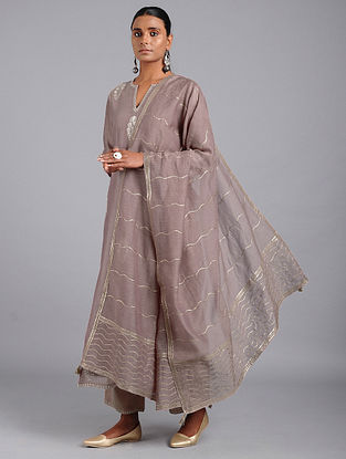 Onion Pink Cotton Chanderi Dupatta with Gota Work